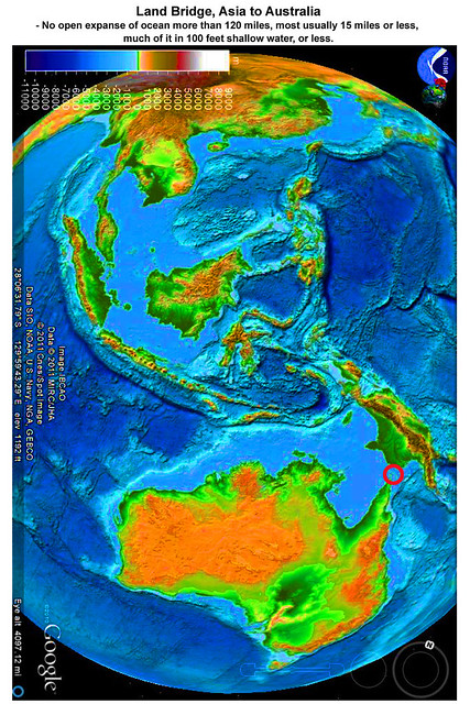 Asia to Australia, Land Bridge virtually exists today