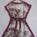 312023(斜纹绸印景色裙 2 4 6 红色-浅黄色  胸92 长82 (1)