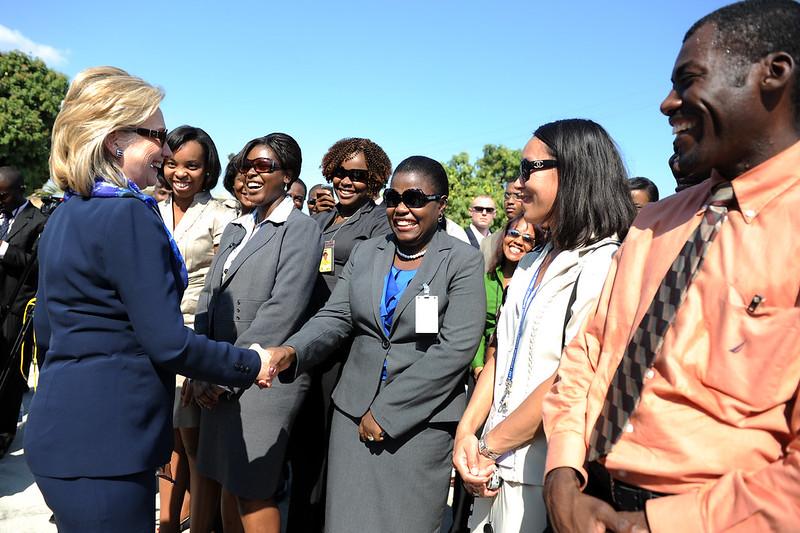 Greeting U.S. Embassy staff