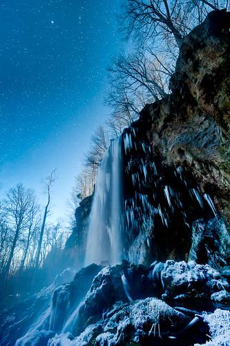 winter sky mist cold ice water night dark stars frozen waterfall falls fallingsprings