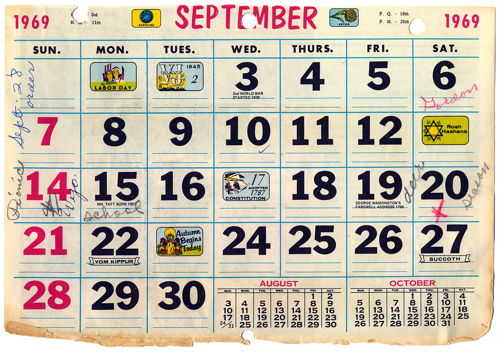 Calendar 1969.Calendar September 1969 Eudaemonius Flickr