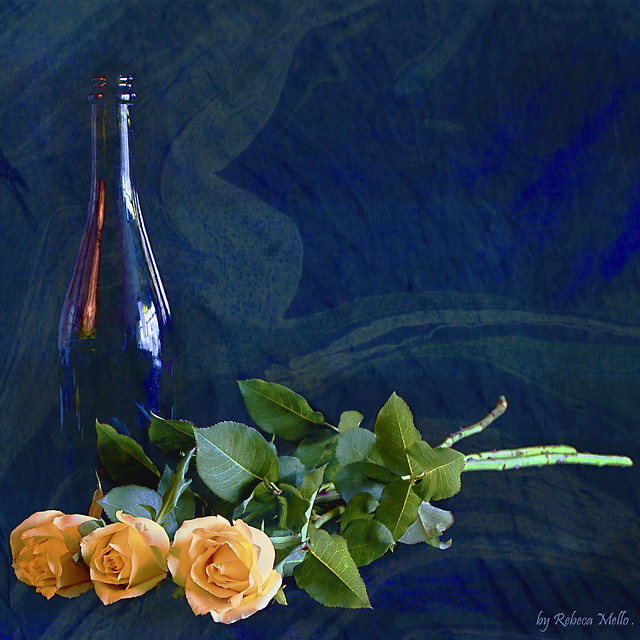 A bottle ... three roses ..
