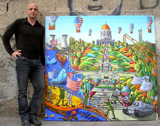 ציור נאיבי של העיר חיפה הר הכרמל יערות יער מארינס חיילים ישראלים אמריקאים מרכז הבאהים מסגד מקדש הרכבל אוניברסיטת