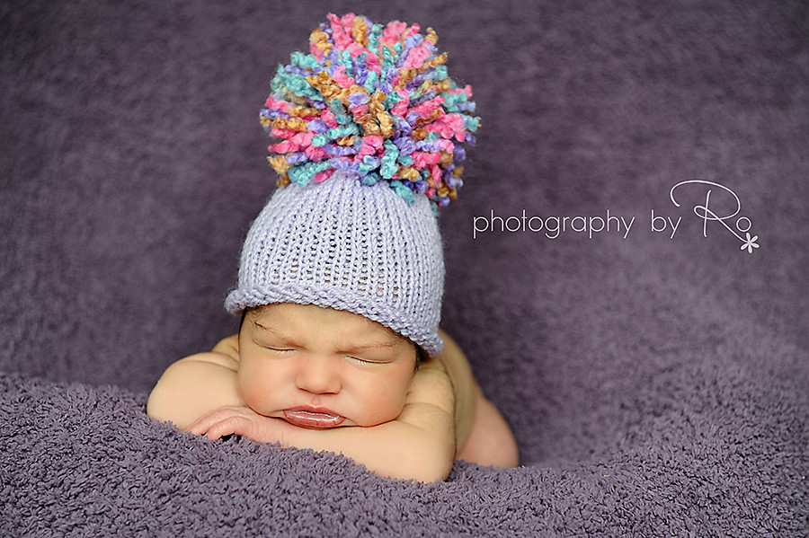 743eb37054a ... Knit Baby Hat Great for Photographer s Prop in Purple Rust Mint Green  and Pink with Big