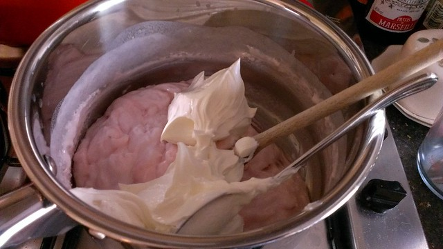 Adding cream cheese to the cooled, rubbery, separated marshmallow mix