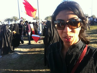 Journalist Nazeeha Saeed at the Pearl Roundabout   by malyousif