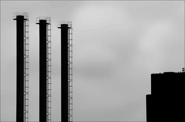 Three chimnies in Stockholm, Sweden 21/5 2006
