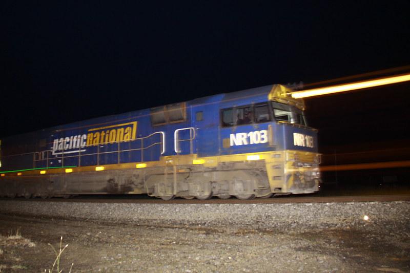 Pacific National NR103 at night through Pura Pura by Corey Gibson