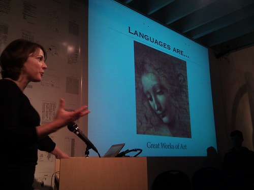 Laura Welcher talking about the Rosetta project at Long Now | by ptufts