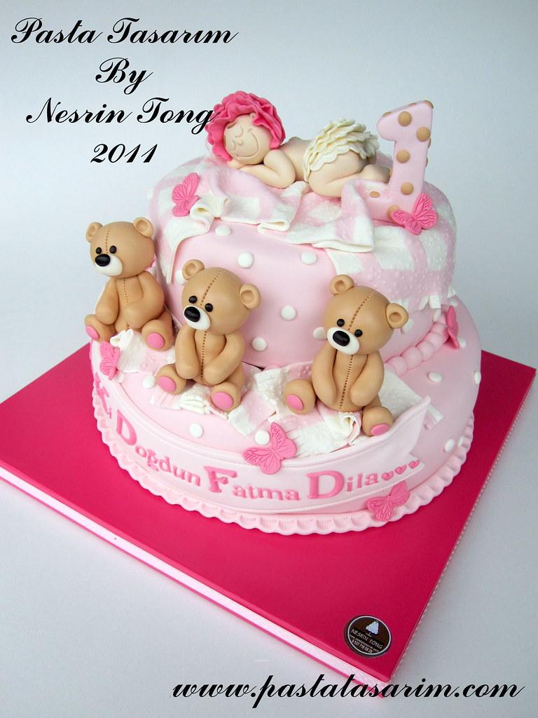 Stupendous Teddy Bears And Sleeping Baby Cake Dila 1St Birthday Flickr Birthday Cards Printable Nowaargucafe Filternl