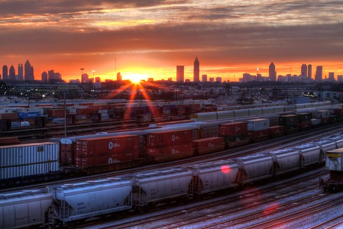 atlanta orange usa sun skyline clouds yard america train sunrise canon ga georgia aj downtown ray cityscape tracks rail midtown hdr freight flair brustein tilford 50d