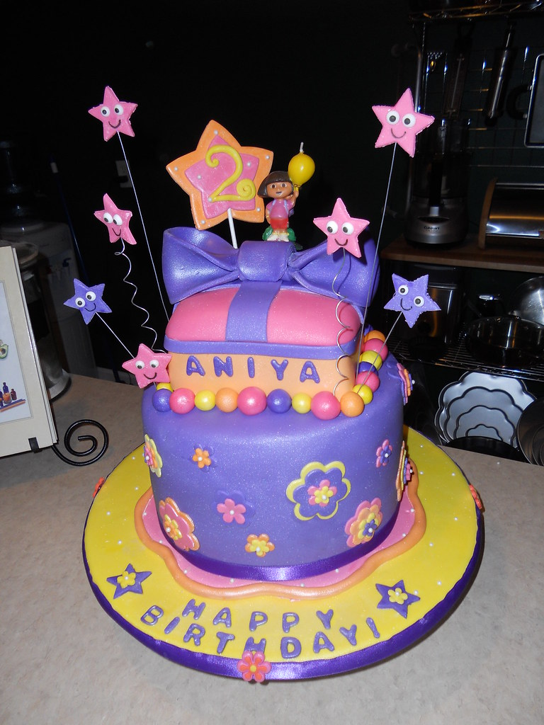 Remarkable Dora The Explorer Birthday Cake Inspired By Dora The Explo Flickr Personalised Birthday Cards Veneteletsinfo