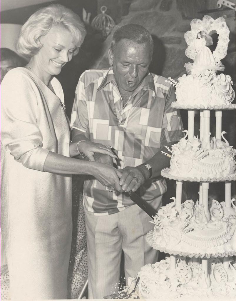 Frank Sinatra & Barbara Sinatra Cutting Their Wedding Cake