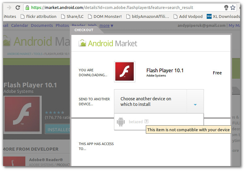 Installing Flash Player 10 2 on ZTE Blade | Andy Piper | Flickr