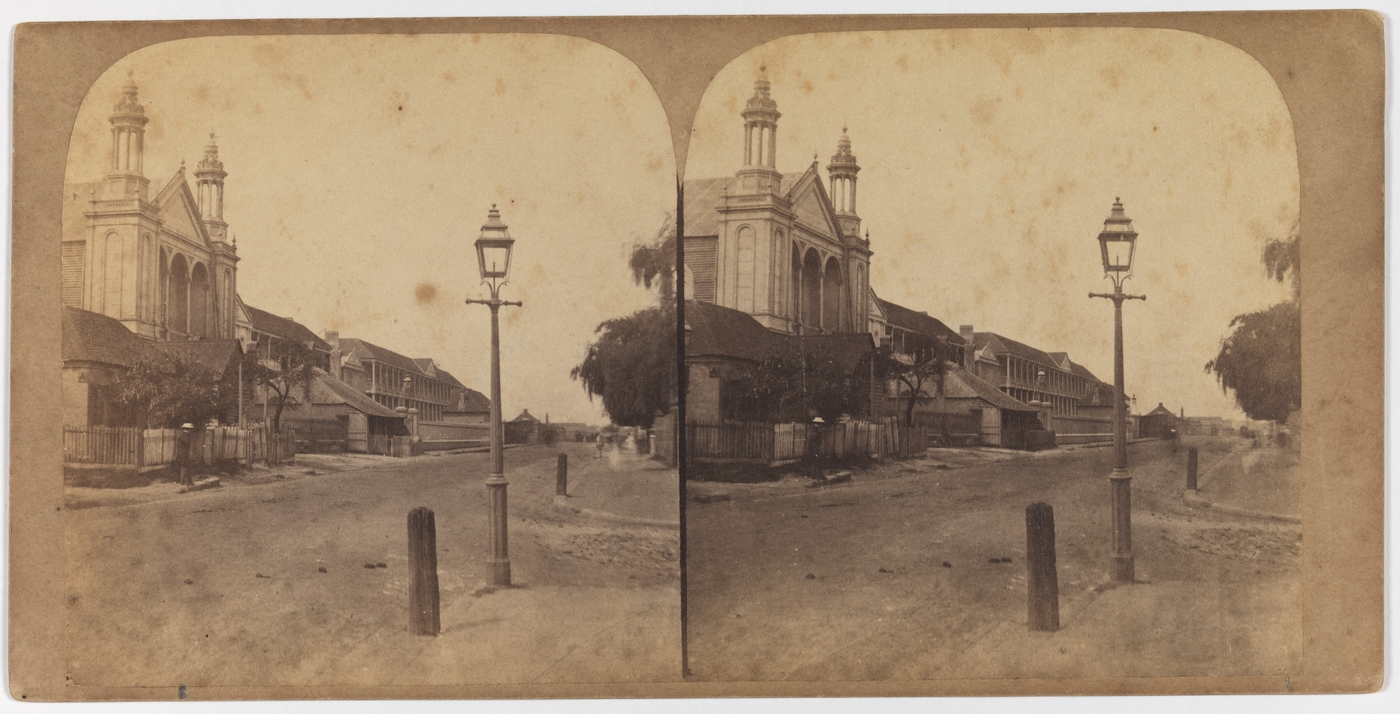 Macquarie Street South [1859] [Taken from corner of Hunter & Macquarie Streets, looking south. St. Stephens Presbyterian Iron Church on left]