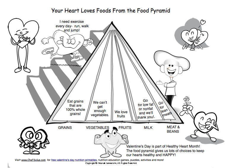 graphic about Food Pyramid for Kids Printable referred to as Youngsters Valentine food items pyramid center healthier printable for k