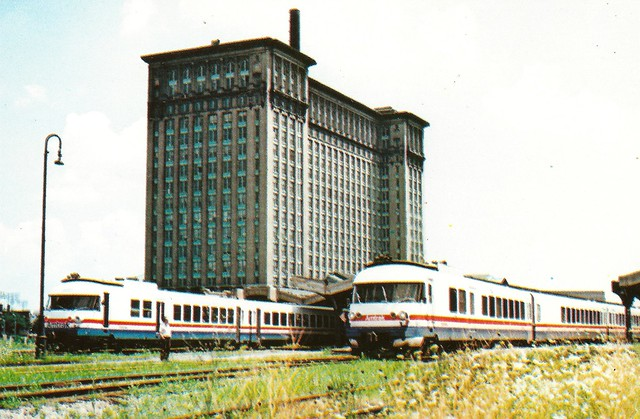 AMTRAK0003 The first westbound train from Toledo to Chicago departs the former Michigan Central Depot in Detroit, MI, August 3, 1980. Occasion was also Amtrak's Family Days featuring 36-mile round trip rides to Wayne Junction with the second French built
