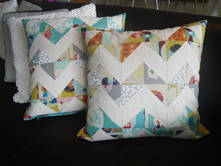 Ruby Star Rising quilted cushions | by eatplaysew