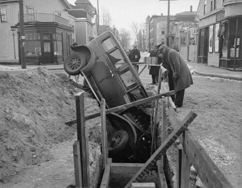 Car goes into trench