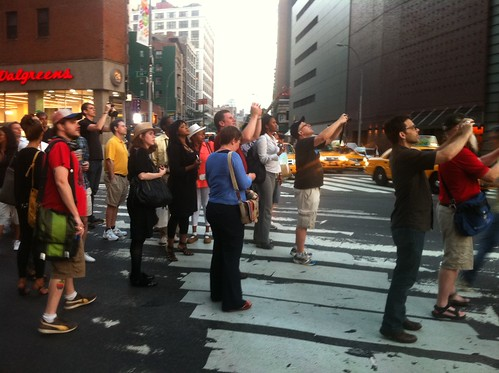 Manhattanhenge is prolly more interesting as a sociological than an astronomical phenom, for camera-toting mobs blocking crosstown traffic. | by finitor