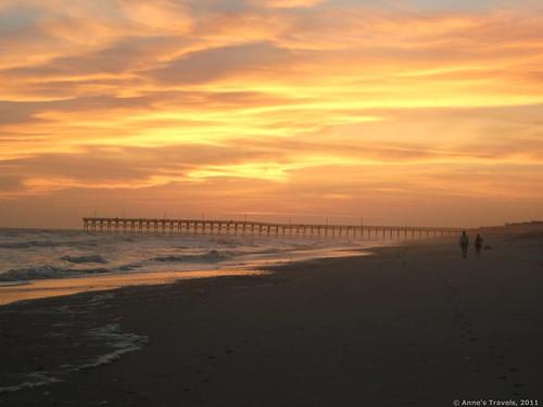 Sunset near the fishing pier at Holden Beach, North Carolina
