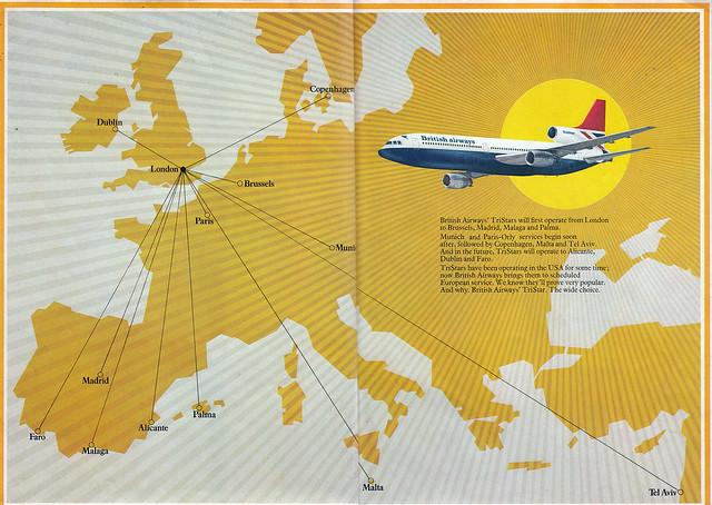 British Airways Tristar brochure -centre [map]