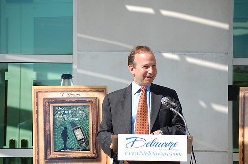 Governor Jack Markell at the launch of the Delaware Geocaching Trail