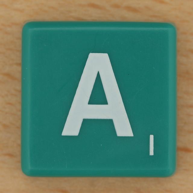 Scrabble White Letter on Green A