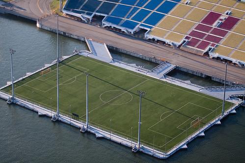 Floating football pitch at Marina bay, Singapore | by natssant