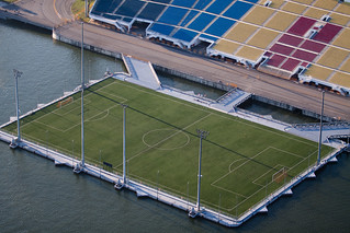Floating football pitch at Marina bay, Singapore | by natssant