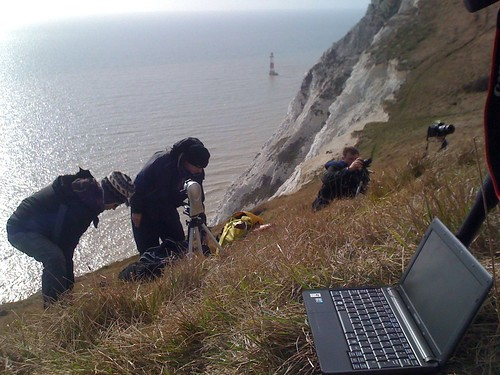 Cameramen Ant and Rob and director Andrew Kotting set up. Photo credit: Cat Harrison
