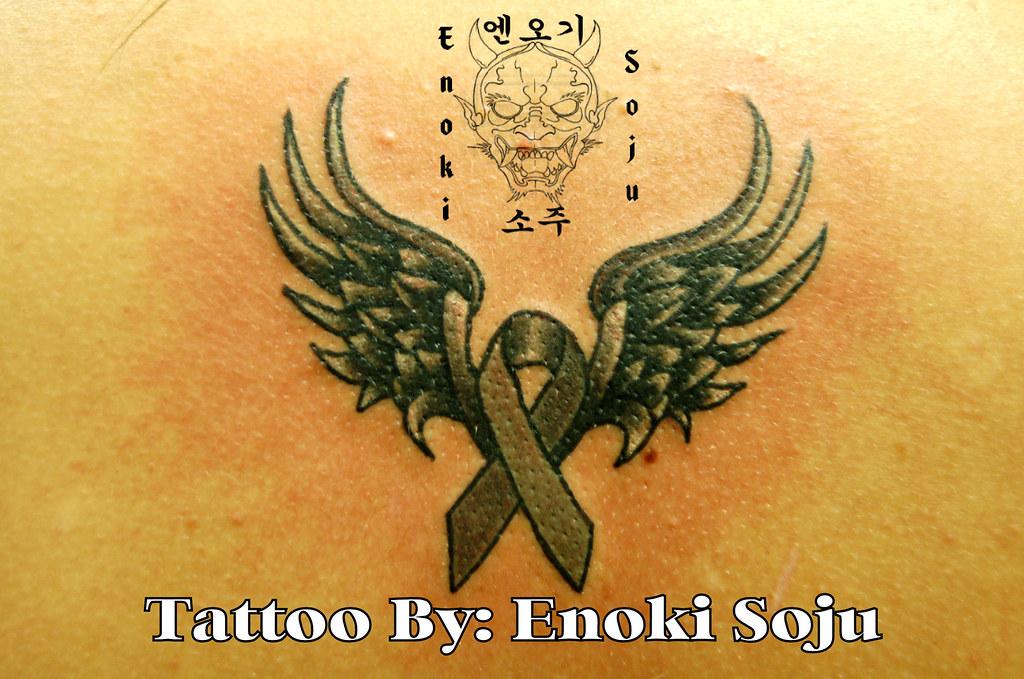 Brain Cancer Ribbon Wing Tattoo | Tattoo by Enoki Soju _____… | Flickr