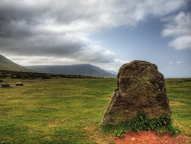 A standing stone at the base of Hay Bluff in the Black Mountain region of Wales