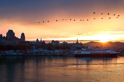 sunset copyright sun castle skyline awesome ducks explore québec cruiseship colourful château frontenac canards maximepotvin