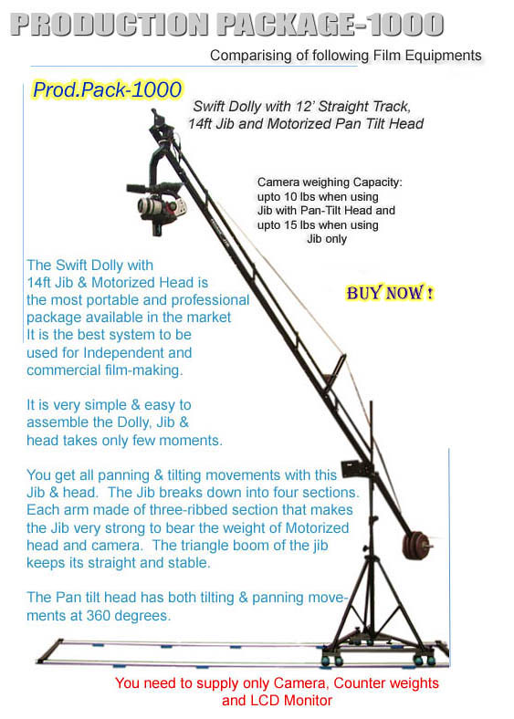 Proaim 14ft video jib crane Sr pan tilt motorized head tri