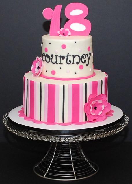 Pink Black & White Birthday Cake