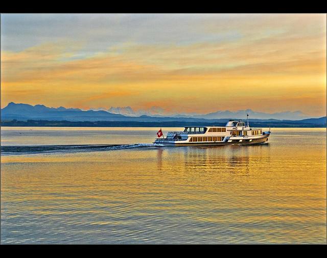 Lac de  Neuchâtel and the Mont Blanc.Happy Birthday My dear Irene !