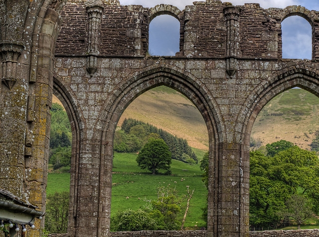 An arch in the ruins of Llanthony Priory - Wales