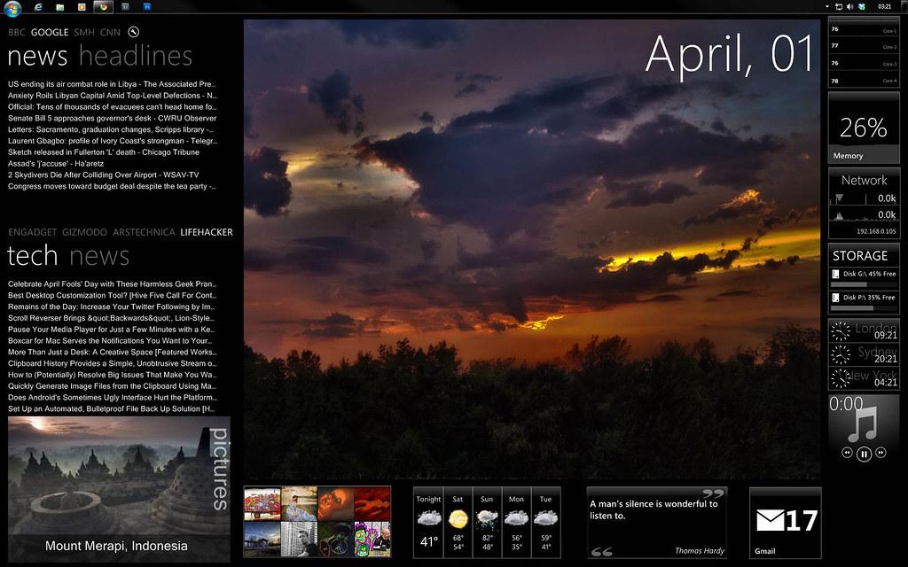Windows 7 with Rainmeter Desktop Customization | This uses t… | Flickr