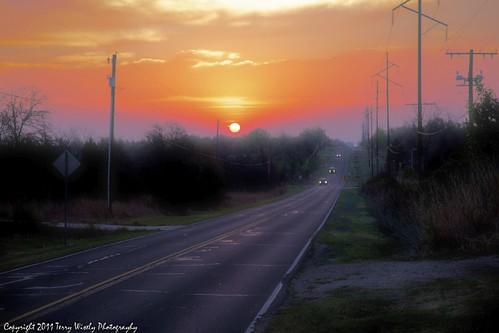 oklahoma fog sunrise landscape headlight