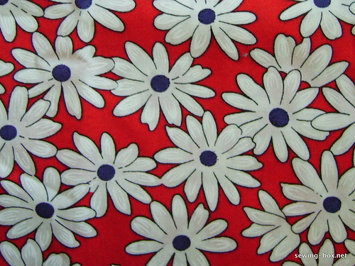 Red, Blue and White Floral 1960s light cotton fabric.