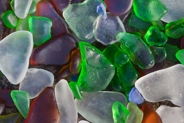 Glass Ground by Surf at Fort Bragg's Glass Beach