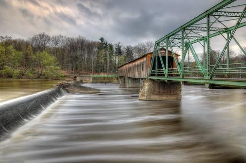 longexposure bridge ohio river landscape fisherman nikon geneva coveredbridge grandriver hdr steelhead photomatix tonemapped tonemap ashtabulacounty harpersfield nikond90 harpersfieldcoveredbridge