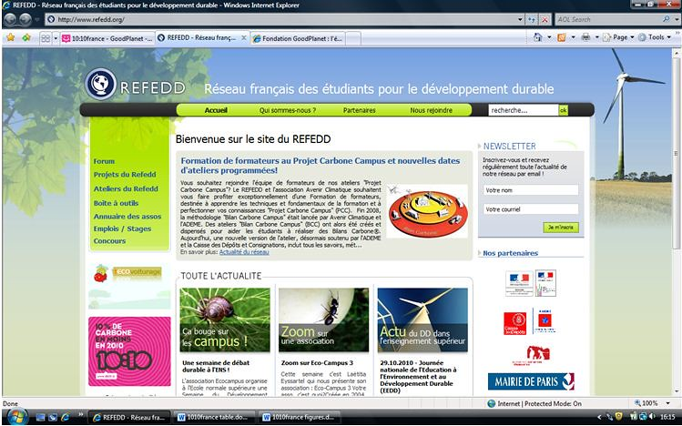 10:10 featured on REFEDD website