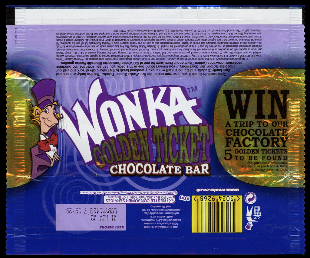 Uk Nestle Wonka Wonka Golden Ticket Chocolate Bar Cand