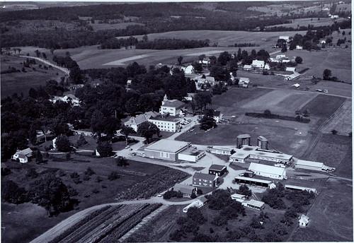 vati 1950s aerialshots randolph vermonthistory campus campusviews hartnesslibrarycollection