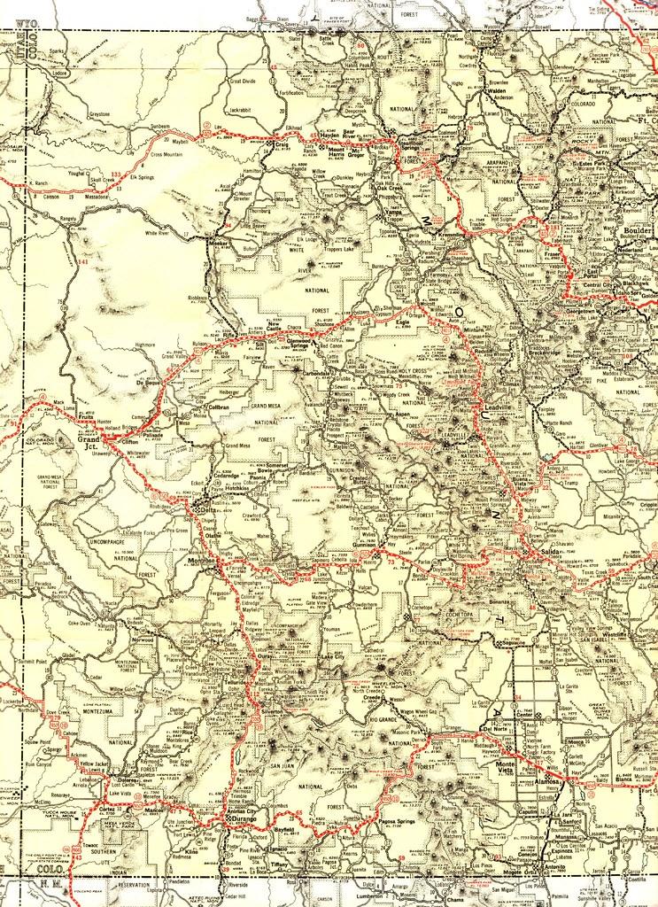 1932 Texaco Road Map | Highway map of Western Colorado ...