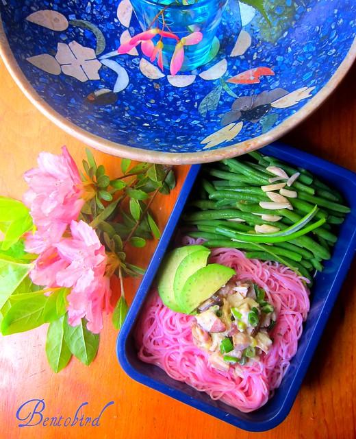 pink soba with tsukemono chicken salad bento