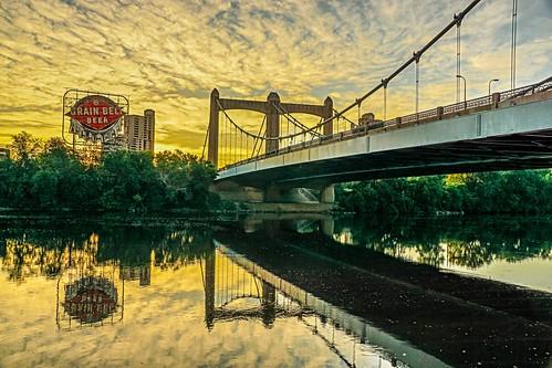 city morning bridge reflection minnesota sign sunrise river mississippi belt grain minneapolis avenue iconic hennepin