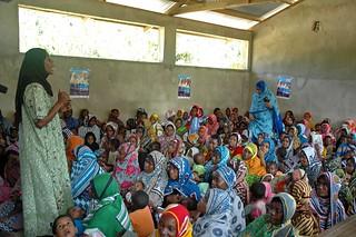 Women inside malaria clinic